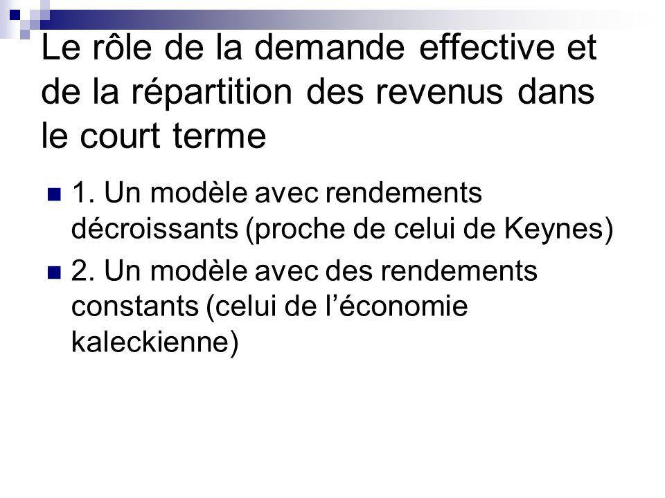 Le rôle de la demande effective et de la répartition des revenus dans le court terme