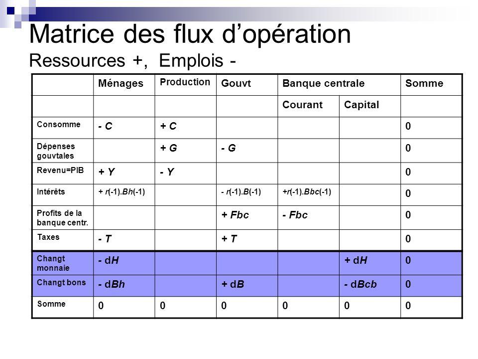 Matrice des flux d'opération Ressources +, Emplois -