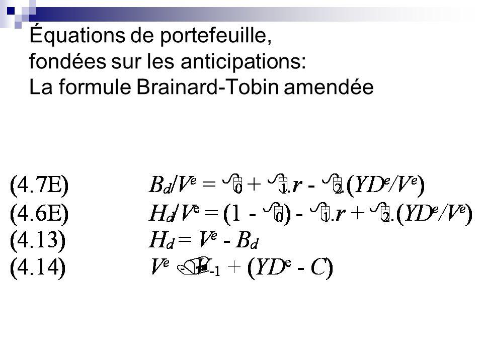 Équations de portefeuille, fondées sur les anticipations: La formule Brainard-Tobin amendée