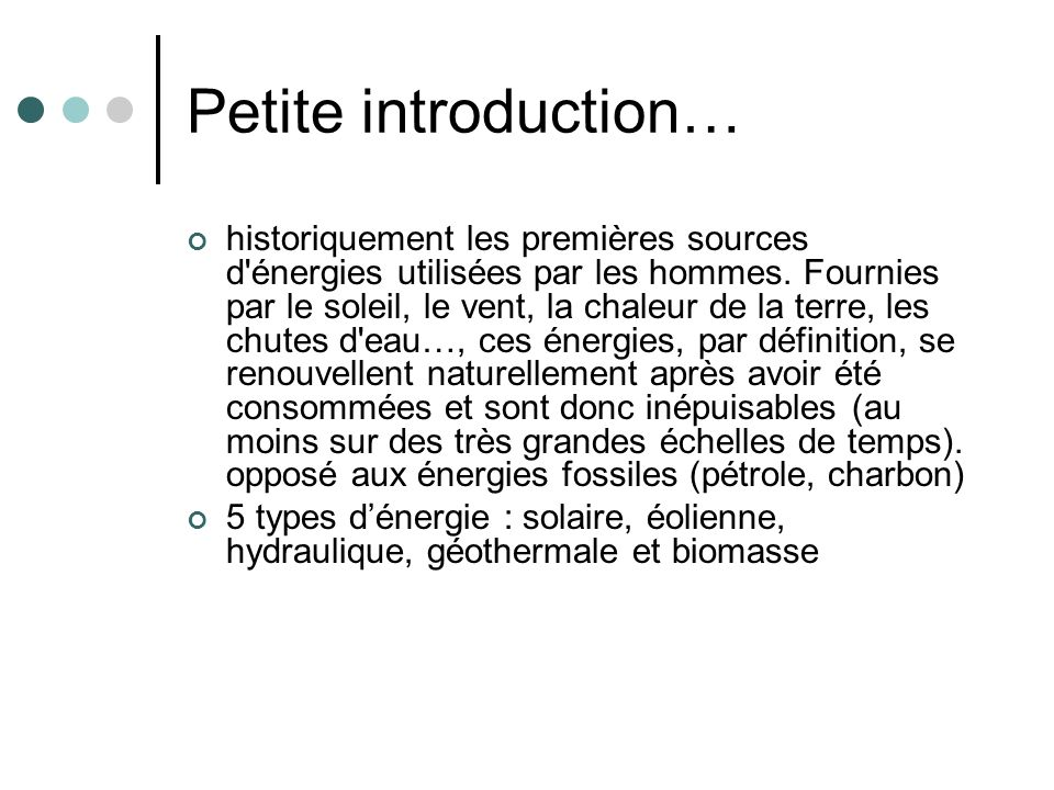 Petite introduction…