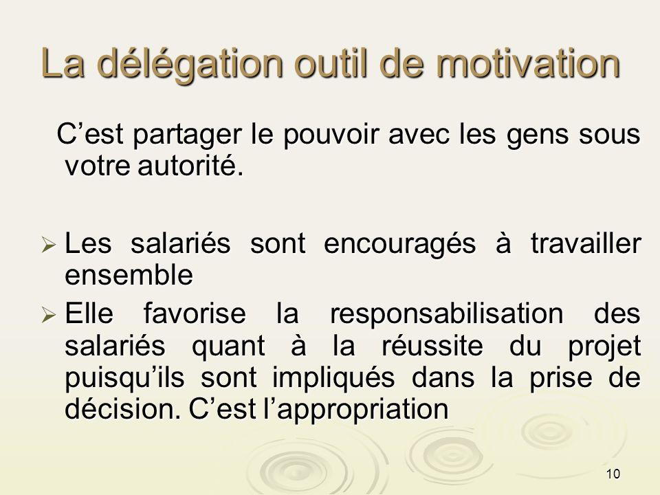 La délégation outil de motivation