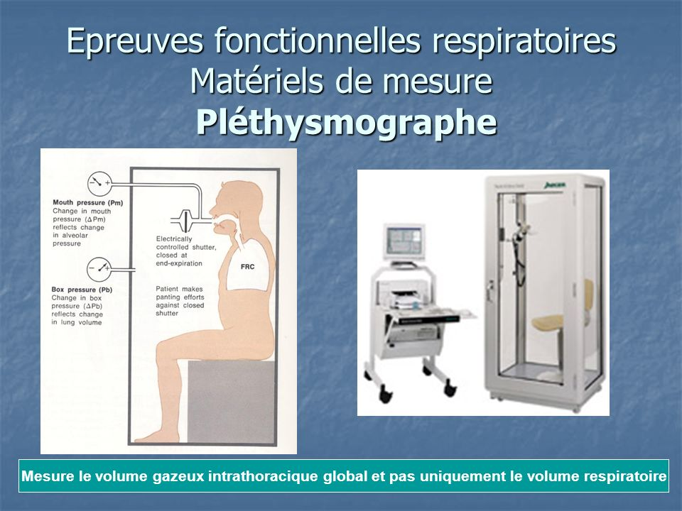 Epreuves fonctionnelles respiratoires Matériels de mesure Pléthysmographe