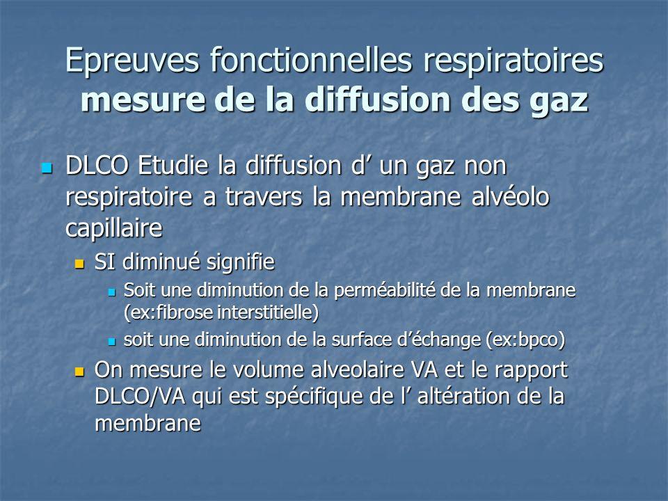 Epreuves fonctionnelles respiratoires mesure de la diffusion des gaz