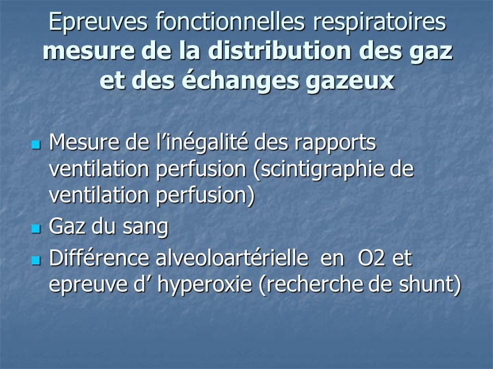 Epreuves fonctionnelles respiratoires mesure de la distribution des gaz et des échanges gazeux