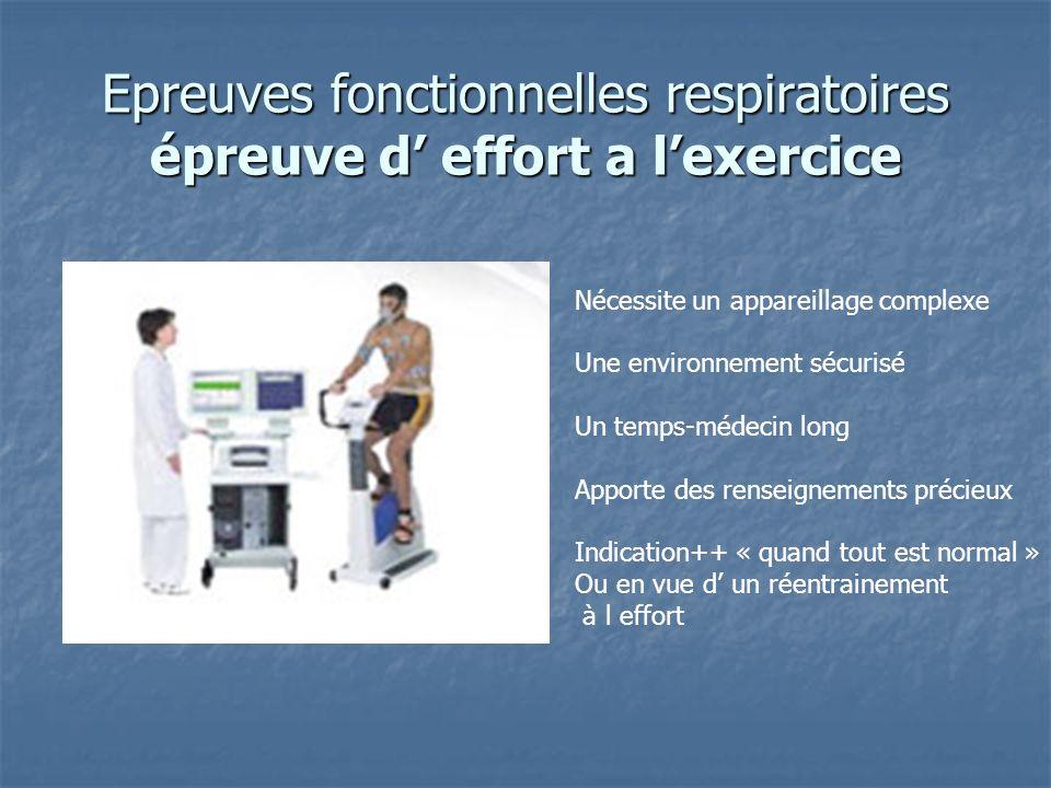 Epreuves fonctionnelles respiratoires épreuve d' effort a l'exercice