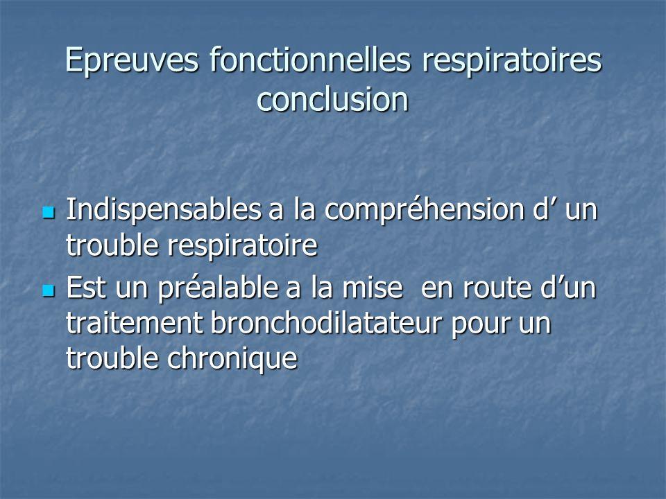 Epreuves fonctionnelles respiratoires conclusion