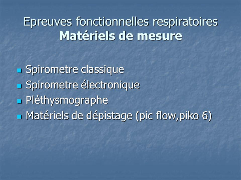 Epreuves fonctionnelles respiratoires Matériels de mesure