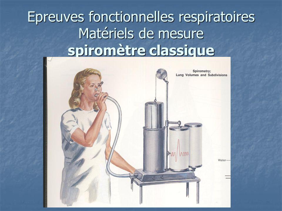 Epreuves fonctionnelles respiratoires Matériels de mesure spiromètre classique