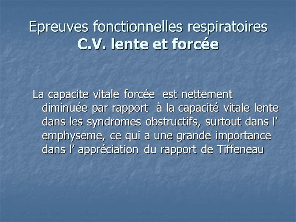 Epreuves fonctionnelles respiratoires C.V. lente et forcée