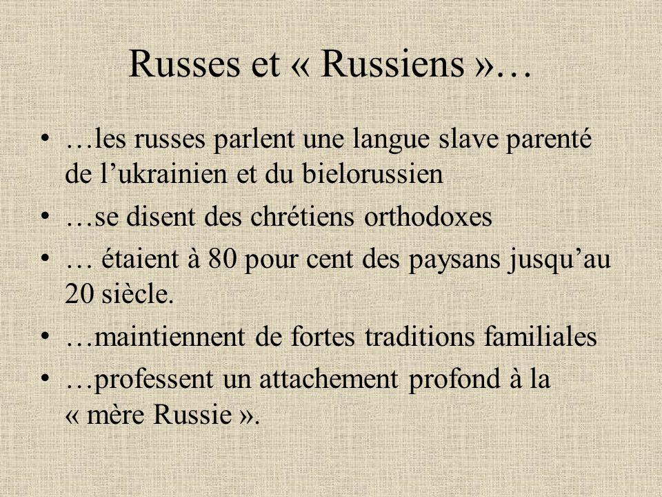 Russes et « Russiens »… …les russes parlent une langue slave parenté de l'ukrainien et du bielorussien.