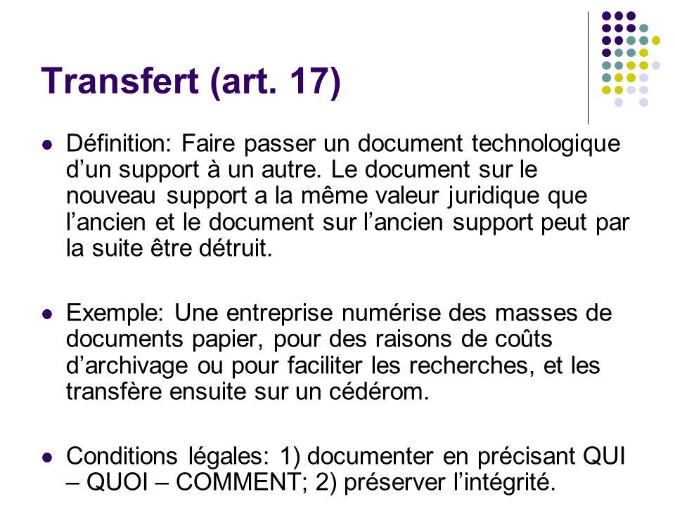 Transfert (art. 17)