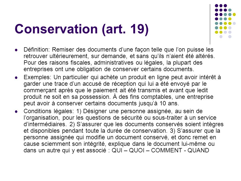Conservation (art. 19)