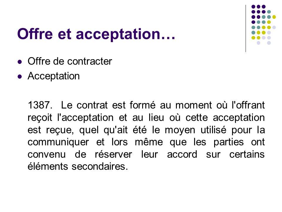 Offre et acceptation… Offre de contracter Acceptation