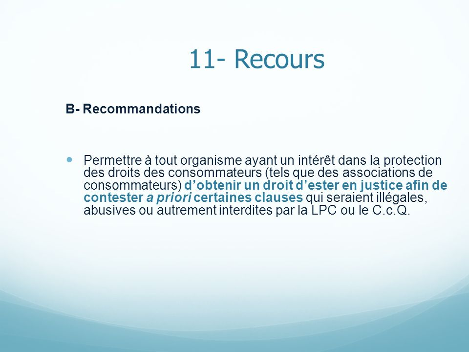 11- Recours B- Recommandations