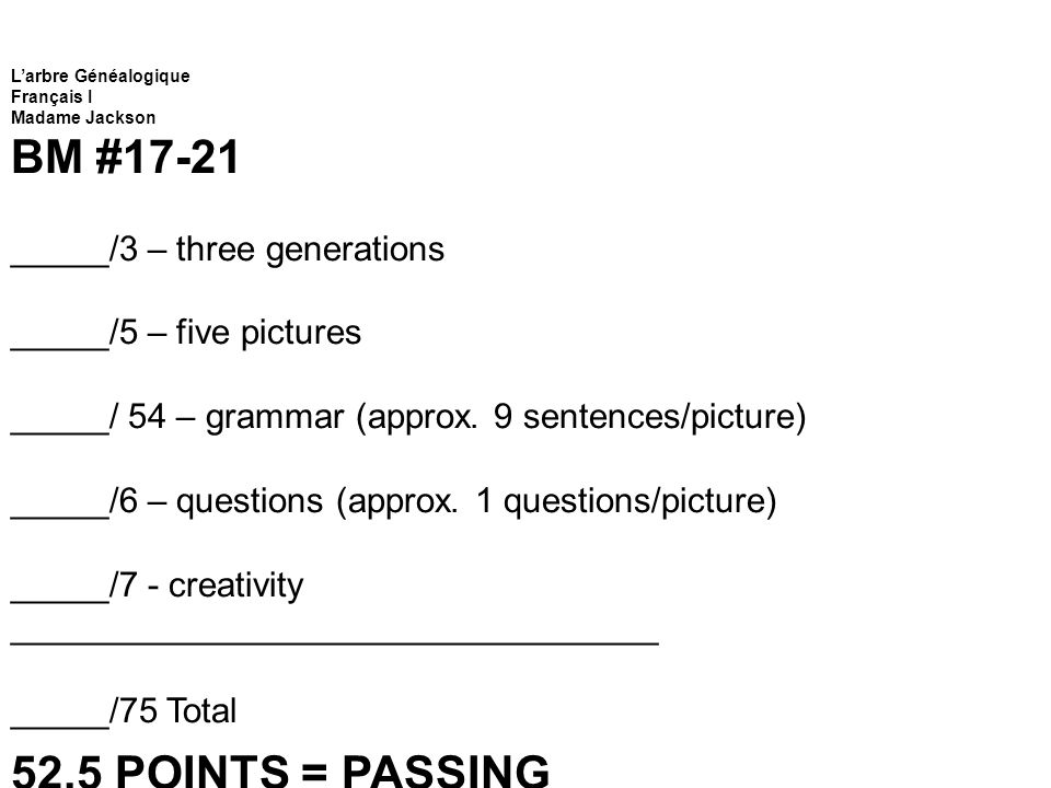 BM #17-21 52.5 POINTS = PASSING _____/3 – three generations