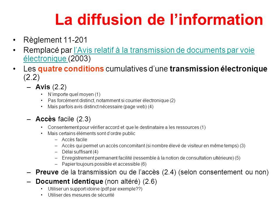 La diffusion de l'information