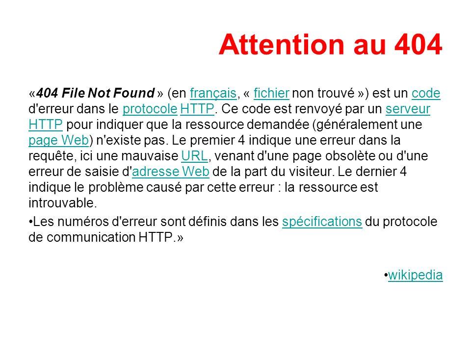 Attention au 404