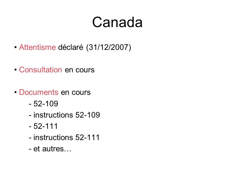 Canada Attentisme déclaré (31/12/2007) Consultation en cours