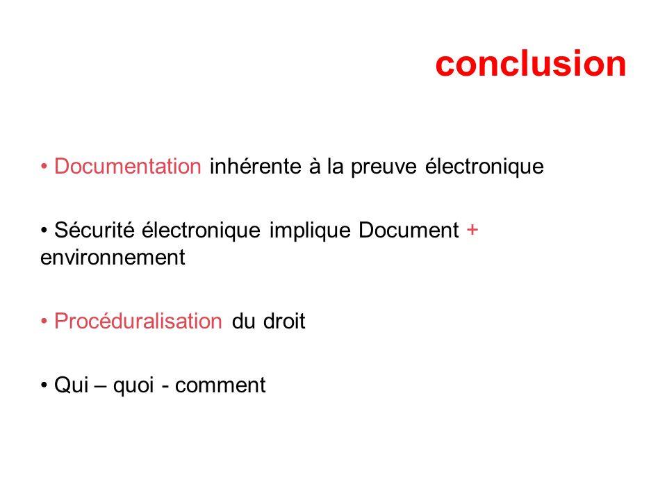 conclusion Documentation inhérente à la preuve électronique