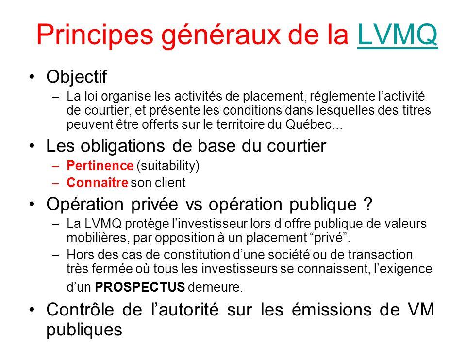 Principes généraux de la LVMQ