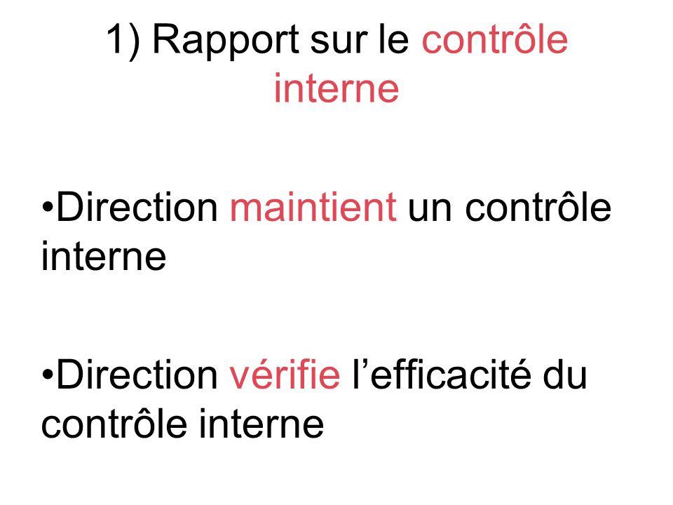 1) Rapport sur le contrôle interne