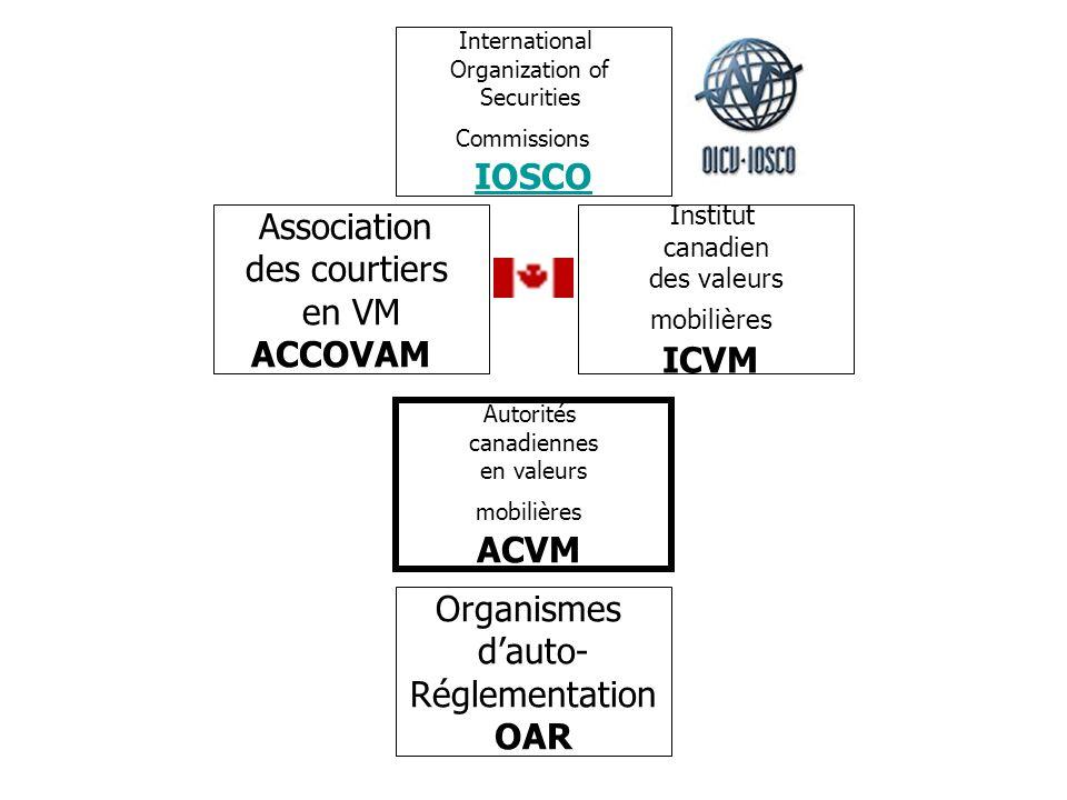 IOSCO Association des courtiers en VM ACCOVAM ICVM ACVM Organismes