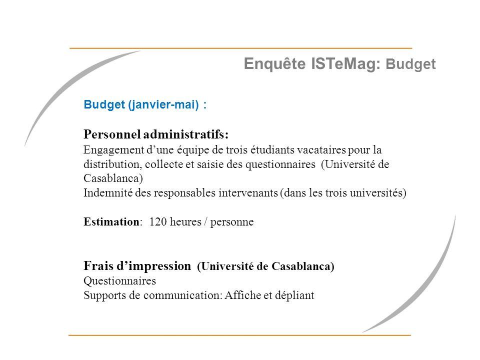 Enquête ISTeMag: Budget