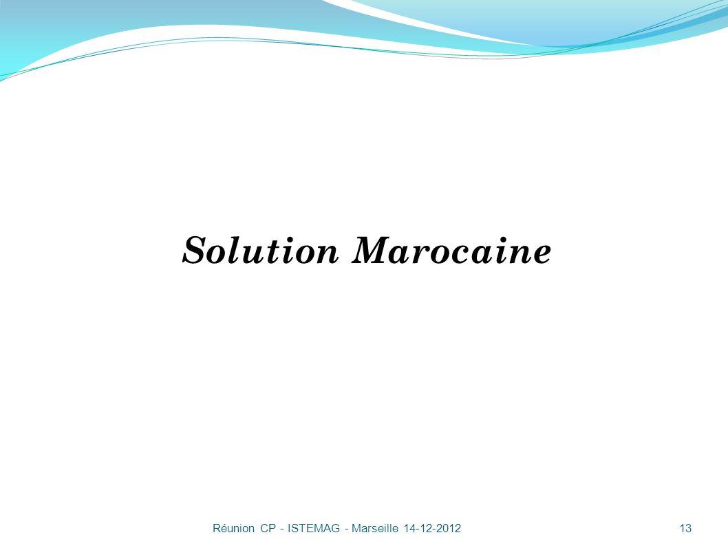 Solution Marocaine Réunion CP - ISTEMAG - Marseille 14-12-2012