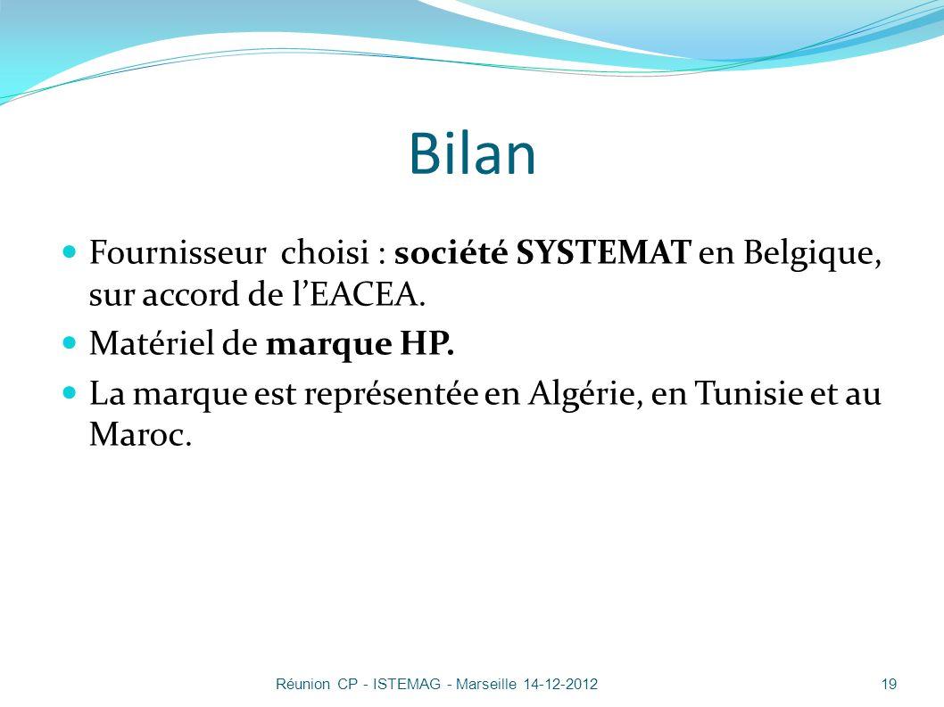 Bilan Fournisseur choisi : société SYSTEMAT en Belgique, sur accord de l'EACEA. Matériel de marque HP.