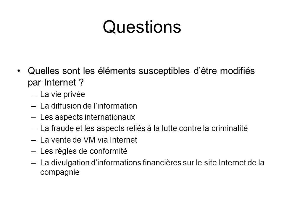 Questions Quelles sont les éléments susceptibles d'être modifiés par Internet La vie privée. La diffusion de l'information.