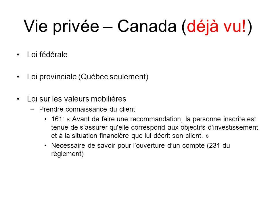 Vie privée – Canada (déjà vu!)