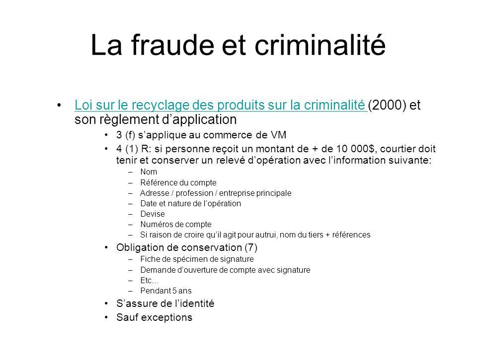 La fraude et criminalité