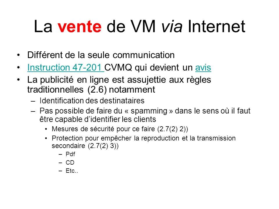 La vente de VM via Internet