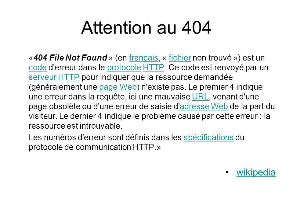 Attention au 404 wikipedia