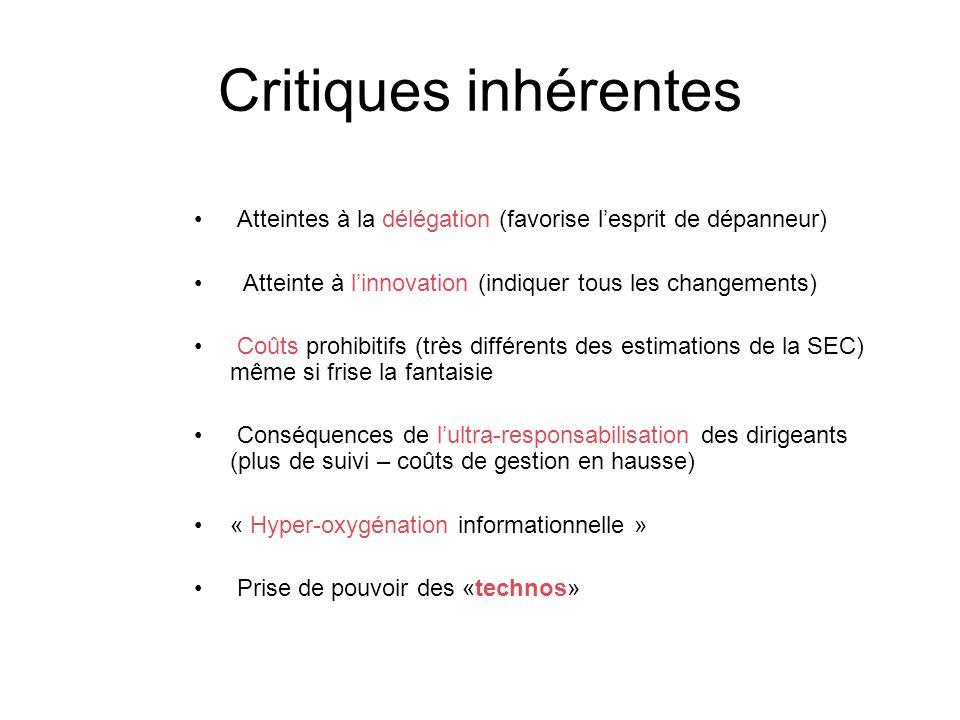 Critiques inhérentes Atteintes à la délégation (favorise l'esprit de dépanneur) Atteinte à l'innovation (indiquer tous les changements)