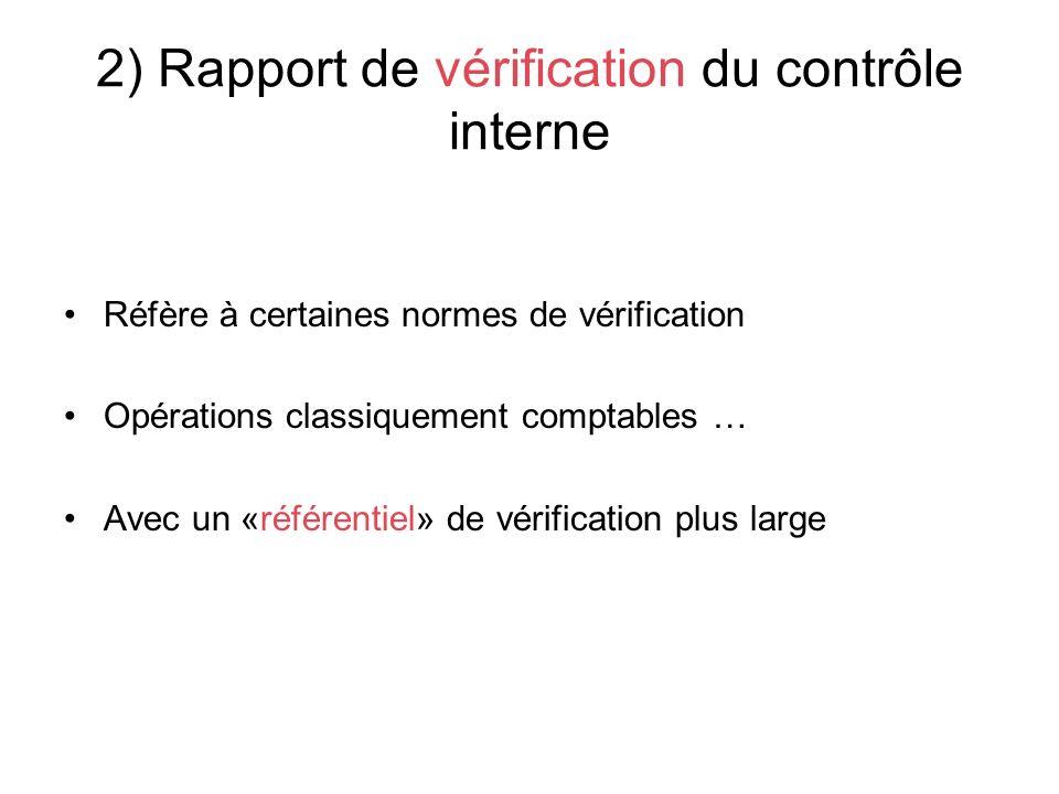 2) Rapport de vérification du contrôle interne