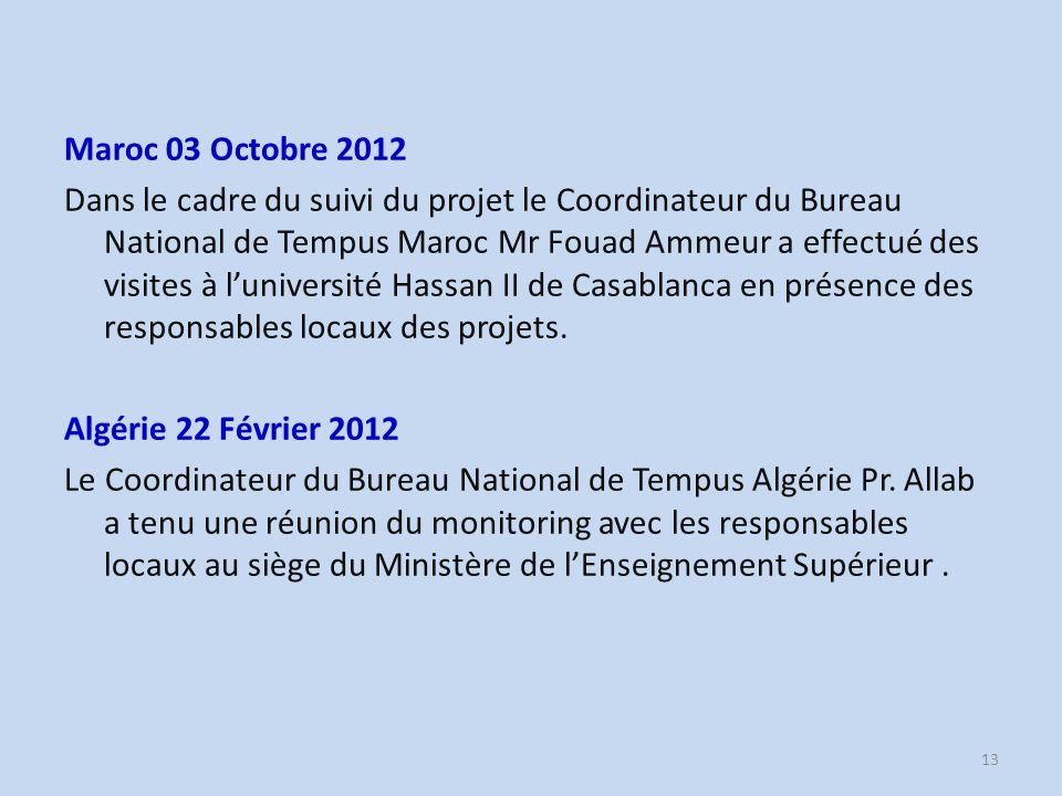 Maroc 03 Octobre 2012 Dans le cadre du suivi du projet le Coordinateur du Bureau National de Tempus Maroc Mr Fouad Ammeur a effectué des visites à l'université Hassan II de Casablanca en présence des responsables locaux des projets.