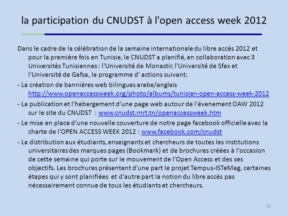 la participation du CNUDST à l open access week 2012