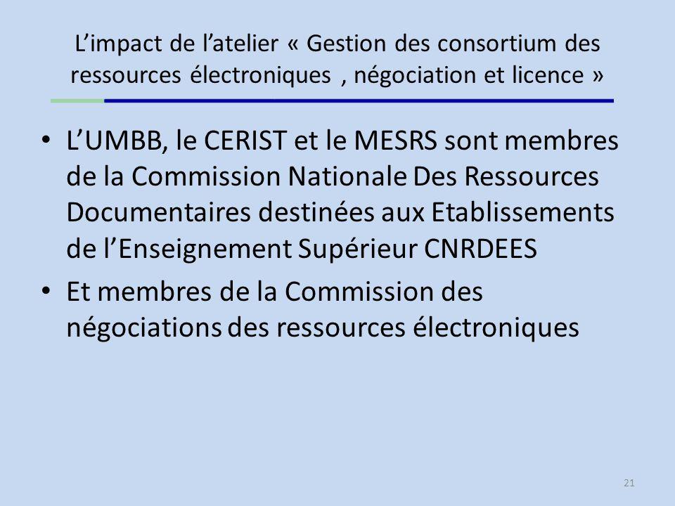 L'impact de l'atelier « Gestion des consortium des ressources électroniques , négociation et licence »