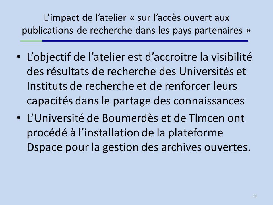 L'impact de l'atelier « sur l'accès ouvert aux publications de recherche dans les pays partenaires »
