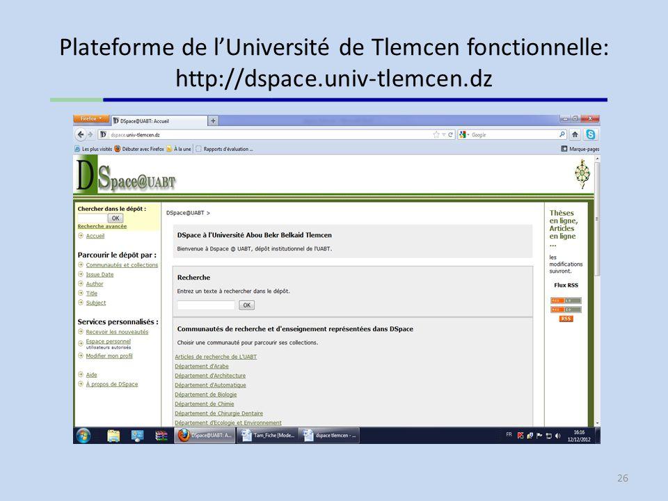Plateforme de l'Université de Tlemcen fonctionnelle: http://dspace