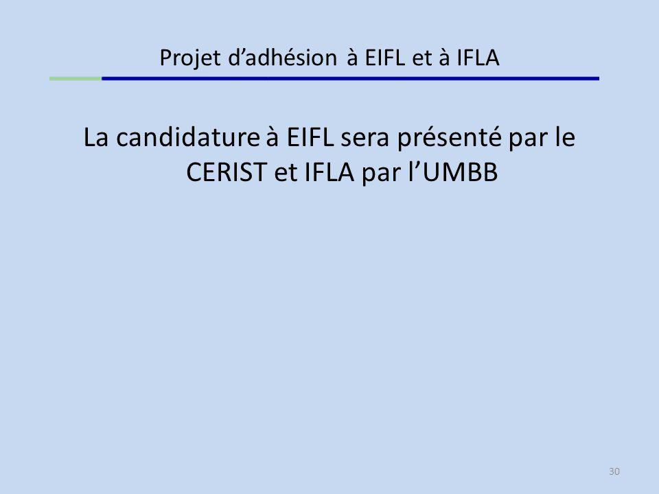 Projet d'adhésion à EIFL et à IFLA