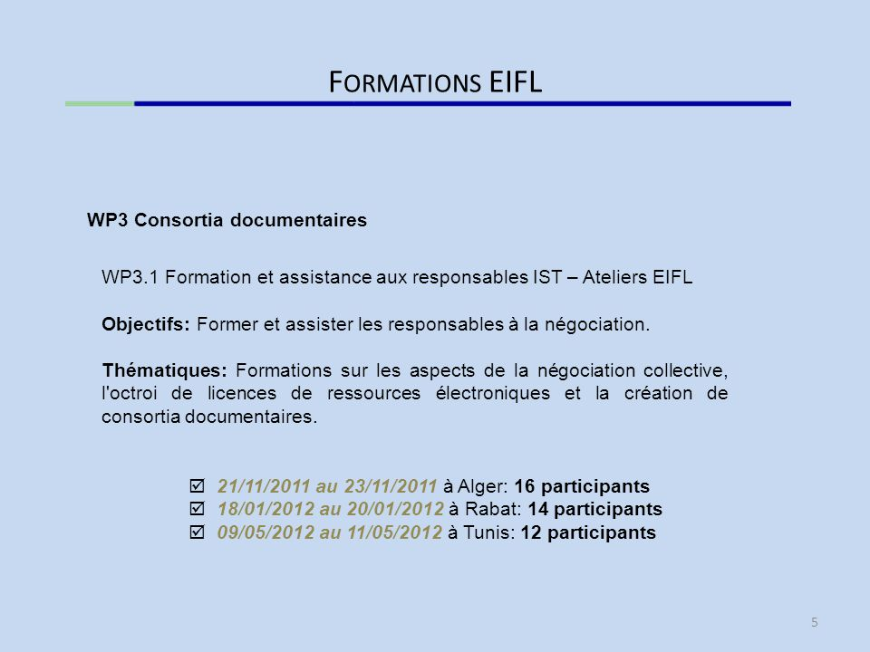 Formations EIFL WP3 Consortia documentaires