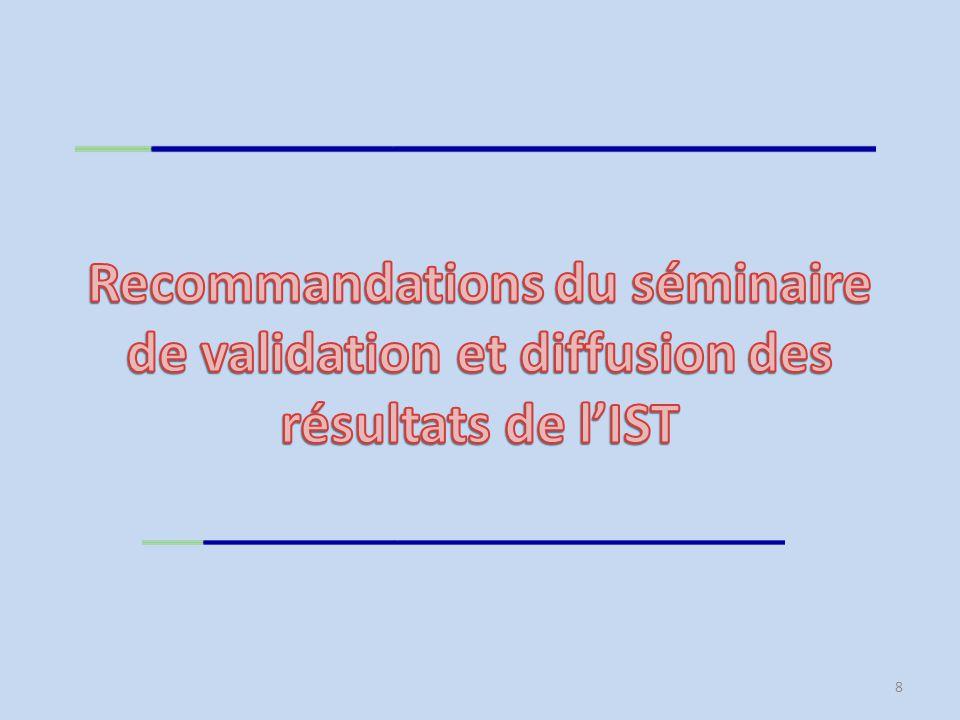 Recommandations du séminaire de validation et diffusion des résultats de l'IST