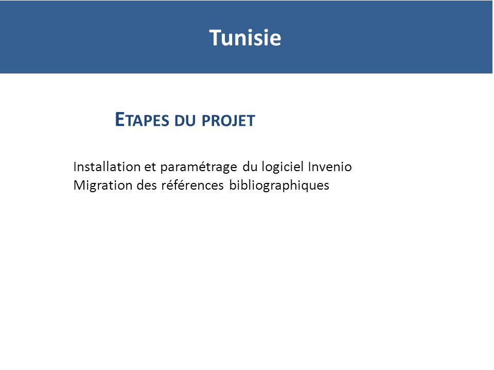 Tunisie Etapes du projet