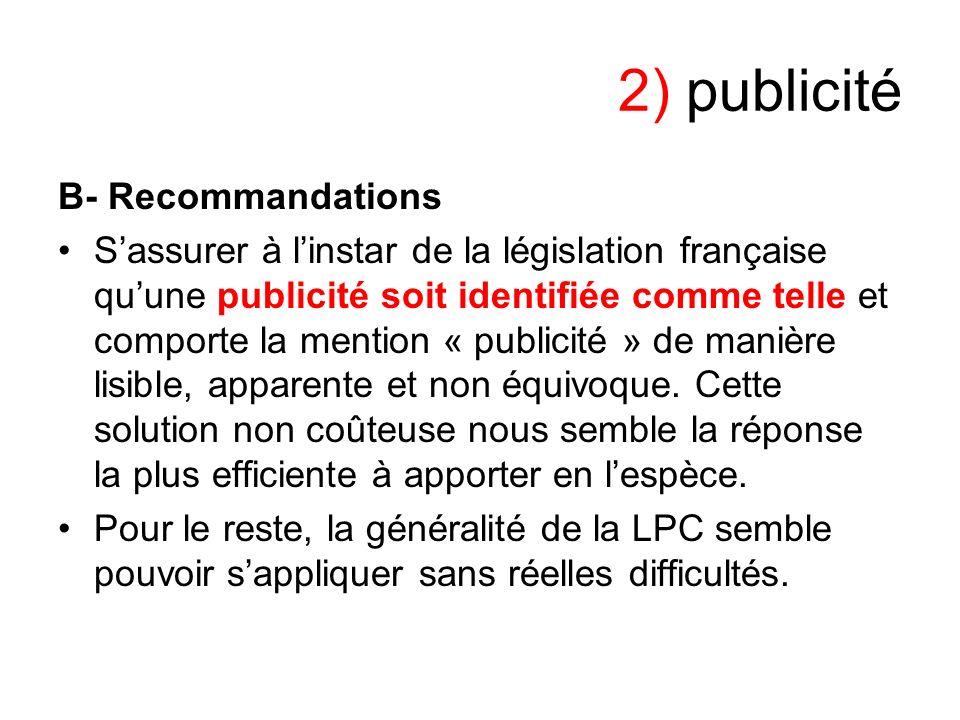 2) publicité B- Recommandations