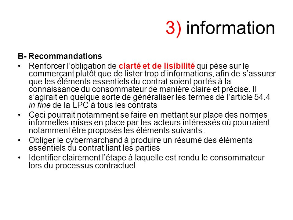 3) information B- Recommandations