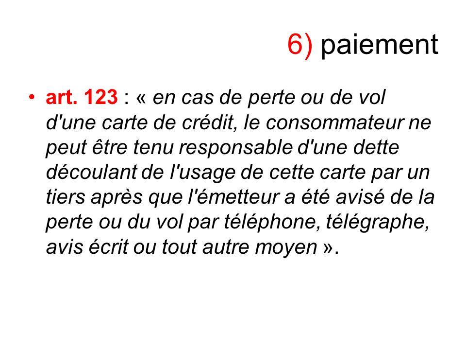 6) paiement