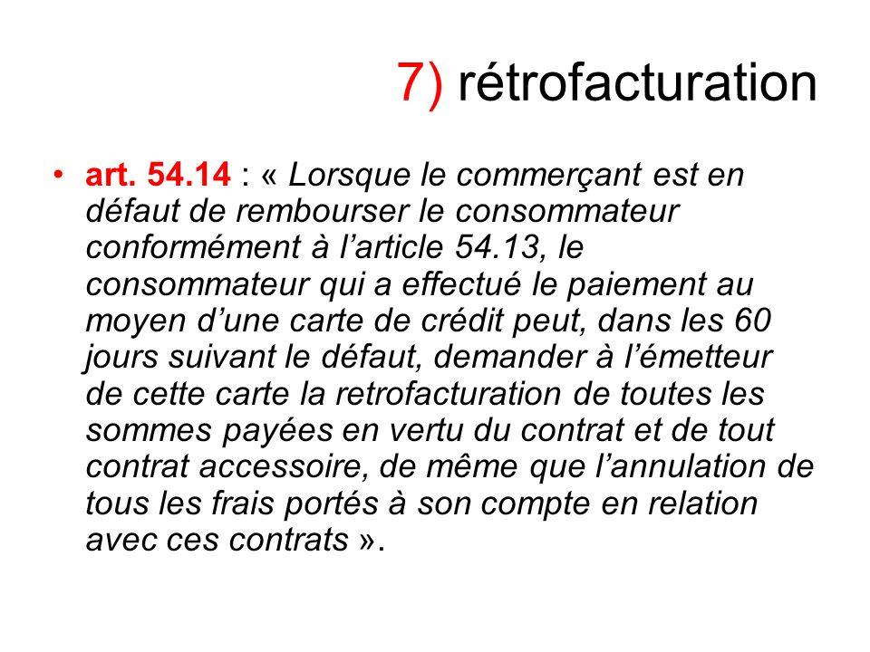 7) rétrofacturation