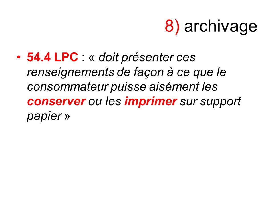 8) archivage